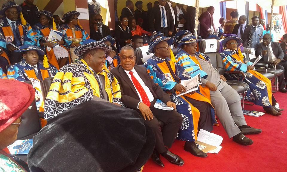 Sitting L-R: Prof. Yakubu Aboki Ochefu-VC Kwararafa University Taraba State, H.E Prof. Ivara Ejemot Esu-Deputy governor of Cross River State, Prof Akaniren Essien- Rep of President Buhari, Chief E. Iwuanyanwu-Pro Chancellor Unical