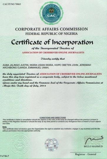 ACROJ Certificate of Incorporation